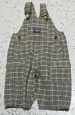 Vintage Baby Oshkosh B'gosh Vestbak Overalls ~ 12M ~ Blue Plaid ~ 100% Cotton