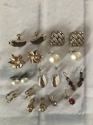 Vintage To Now Fashion Jewelry Lot clip OnHook Post Pierced Earrings All Signed