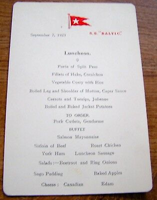 White Star Line Ss Baltic 2Nd Class Lunch Menu 1923 Sent Ice Message To Titanic