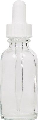 12 Pack Clear Glass Boston Round Bottle w/ White Glass Dropper 1 oz