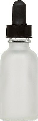 12 Pack Frosted Glass Boston Round Bottle w/ Black Glass Dropper 1 oz