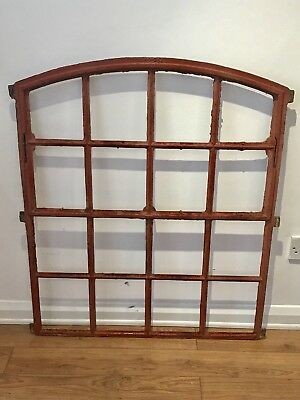 Large Vintage Iron Industrial Metal Arched Factory Window Frame Red