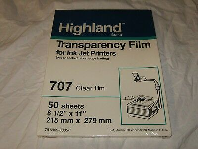 Highland Transparency Film for ink jet, # 707 Clear Film, 50 Sheets