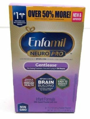 4 Pack Enfamil NeuroPro Gentlease Infant Formula Powder Refill Box 30.4 oz