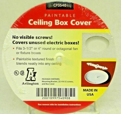 "(11) ARLINGTON CP3540 Paintable Ceiling Box Covers 3-1/2""- 4"" Round/Octagonal CT"