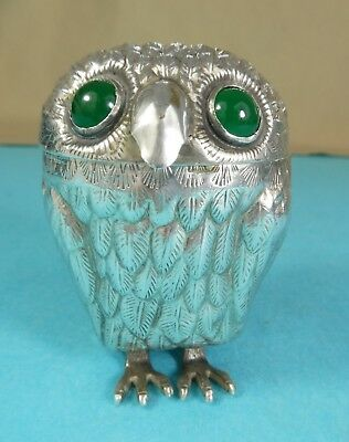 Beautiful Large Sterling Silver Novelty Mustard Pot Wise Owl Glass Eyes Ca 1960