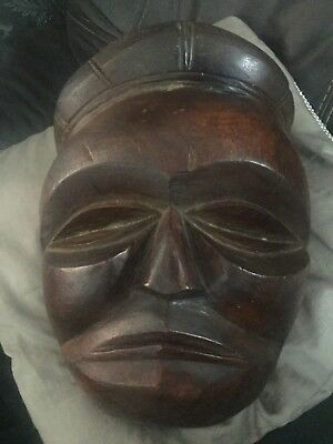 Antique Vintage African Hand Carved Wooden Tribal Face Mask heavy item