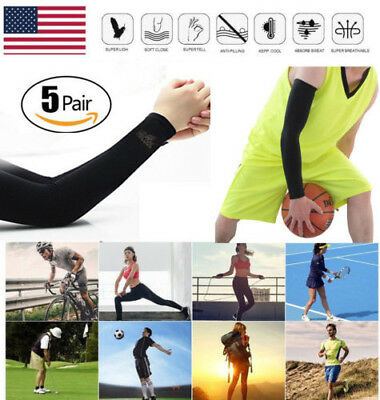 5 Pairs Cooling Arm Sleeves Cover UV Sun Protection Golf Basketball Sport Black