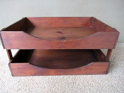 Double File Tray Vintage Two-Tier Wood Large Office Desk Letter Box
