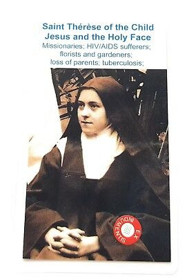 3rd class relic card Saint Therese Child Jesus Lisieux wooden color HIV AIDS