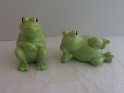 Pair of Light Green Frog Figurines.  Very Nice Frog-Themed Collectible