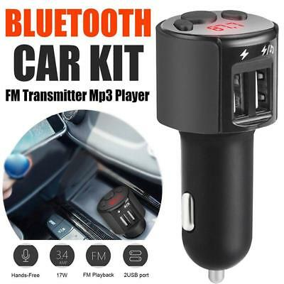 Bluetooth Car Kit Wireless FM Transmitter Dual USB Charger Audio MP3 Player