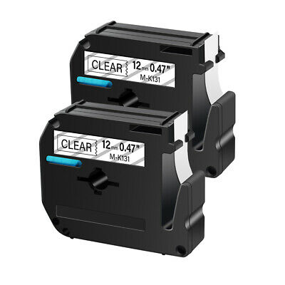 2PK 12mm For Brother P-touch PT-45 PT-90 Label M-K131 MK-131 Black on Clear Tape