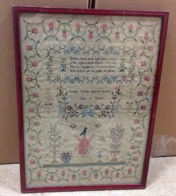 Antique Framed Needlepoint Sampler Dated 1817 Strawberries Flowers And Windmill