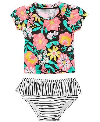 First Impressions 2-Pc Tropical-Print & Striped Tankini Swimsuit Baby Girls NWT