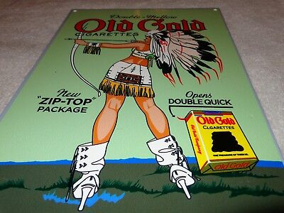 """Vintage Old Gold Cigarettes W/ Indian Woman 12"""" X 8"""" Metal Smoking Gas Oil Sign!"""