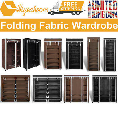 Various Size Fabric Canvas Wardrobe Hanging Rail Shelving Clothes Storage Brown