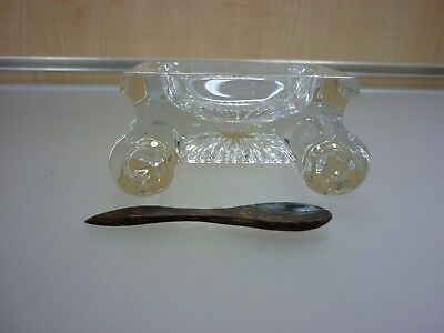 Vintage William Yeoward Glass Table Salt Dish on Scrolled Feet With Spoon