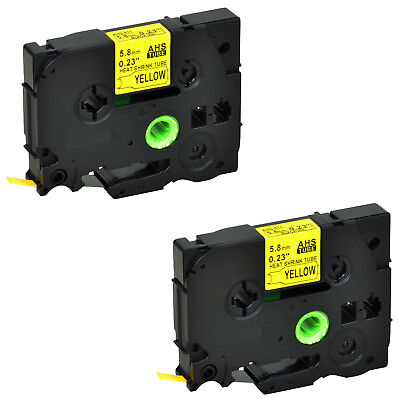 2PK HSe611 Heat Shrink Tube Black on Yellow Label Tape for Brother 5.8mm PTE550W