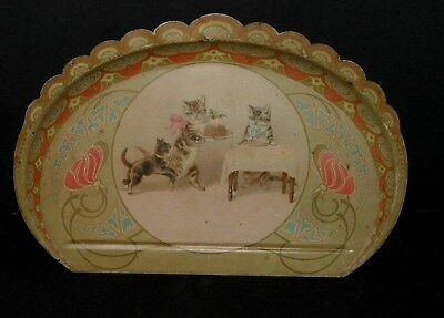 Antique Toleware Decorative Crumb Catcher Tray Mama Cat Feeding Kittens Cake