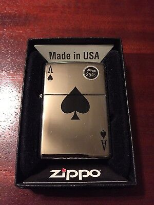 Ace of Spades Zippo Lighter, Polished Chrome, Brand New in Box