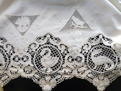 Antique Ivory Embroidered Ancient Animals Battenburg Lace Flat Bed Sheet 106x118