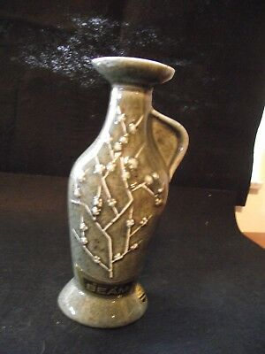 Vintage Jim Beam 1965 Whiskey Decanter Japanese Green Cherry Blossoms Relief