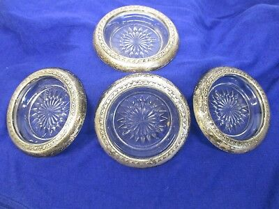 Vintage Sterling Silver Set of 4 Rimmed Glass Ashtray Coaster Mid Century