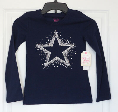 BRAND NEW! Faded Glory Girls Navy Embellished Long Sleeve Tee Shirt  S 6-6X