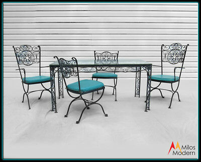 Woodard Cast Iron Patio Furniture Set 6 Pieces Table & Chairs Black Turquoise