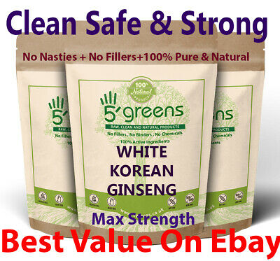 White Korean Ginseng 10,000mg Vegan Capsules 20:1 Extract Very Strong