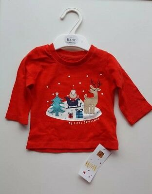 Marks And Spencer Baby My First Chritsmas T-shirt Age 6-9months unisex