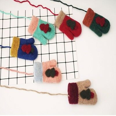 Kids Christmas Tree Design Mittens Baby Knitted Gloves Winter Warm Neck String