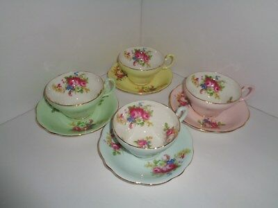 Vintage EB Foley Teacup Cup & Saucers 4 Sets ~ Blue, Green, Yellow & Pink Floral