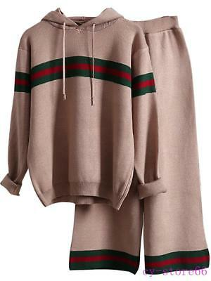 Casual Women Pullover Hooded knitted Sweater Stripe Long Sleeve Top+Pants Suit