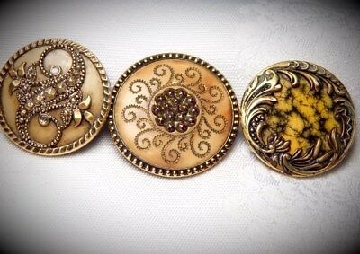 Lot Of 3 Fancy Beautiful  Antique Victorian   Celluloid Buttons ..plant Themes
