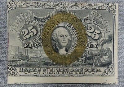 25 Cent Fractional Currency Second Issue 1863-1867 High Grade XF Off-Center