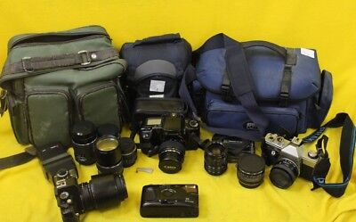 Lenses and 35mmFilm Cameras With Bags & Filters JOB LOT #DAF