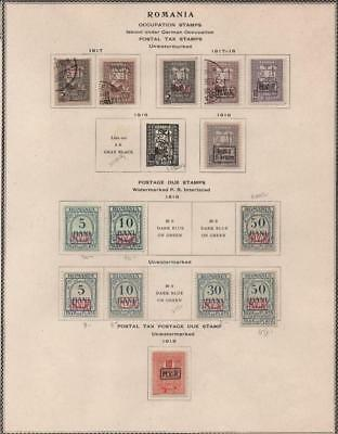 ROMANIA: 1917 Postal Tax Examples - Ex-Old Time Collection - Album Page (18625)