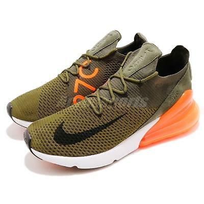 competitive price 6d131 32bb3 Nike Air Max 270 Flyknit Olive Flak Cargo Khaki Orange Men Shoes AO1023-301