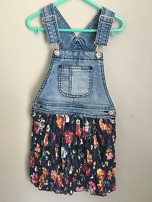 Jordache Denim Overalls with Floral Lace Skirt Girls Size XS 4/5
