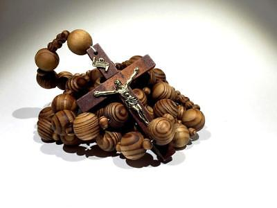 Wall ROSARY Giant Big Beads Rosario Natural Wood Jesus Wooden Cross XL Large 40""