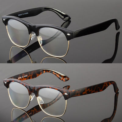Fashion Half Frame CLEAR LENS GLASSES Black GOLD Color Vintage Style Retro
