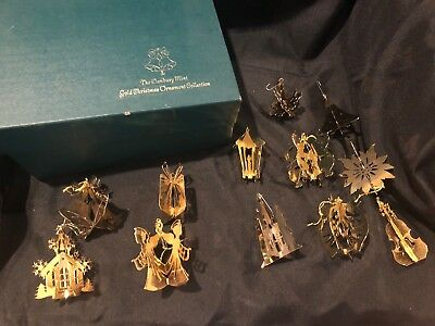 Danbury Mint Set of 12 Gold Christmas Ornament Collection With Box