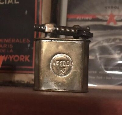 Rare 1910/20s Brass French Tide Water Oil Co Veedol Lighter - Tydol Can Sign Tin