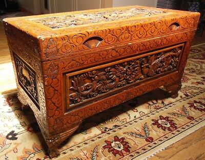 Vintage Wooden Hand Carved Phoenix and Dragon Trunk