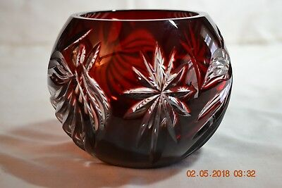 Stunning Lenox Ruby Glass  Cut to Clear Rose Bowl