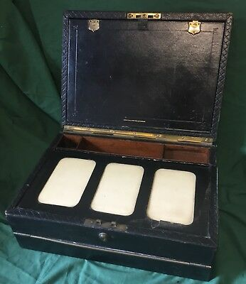 """Antique PARKINS & GOTTO Morroco  Leather Writing Stationary Box Slope 14"""" VGC"""