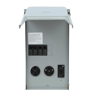 GE 100 Amp 3-Space 3-Circuit 240-Volt RV Outlet Box with 50/30/20 Amp GCFI Cir.