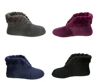 S 5-6 DEARFOAMS VELOUR BOOTIE SLIPPERS LG 9-10 XL 11-12  AUBERGINE BLUE BLACK